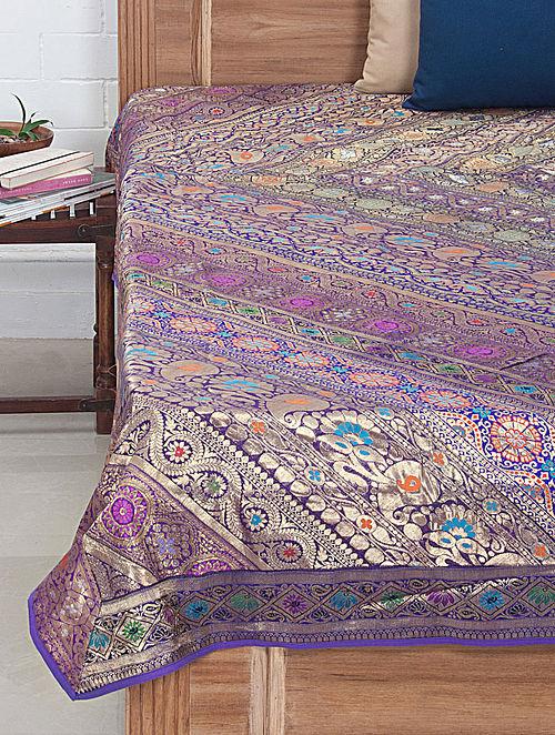 Multi-Color Brocade Bed Cover 106in x 88in