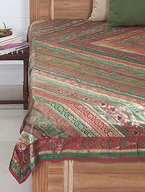 Multi-Color Brocade Bed Cover 107in x 89in