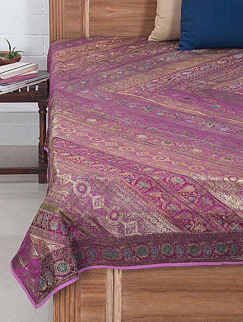 Multi-Color Brocade Bed Cover 106in x 90in