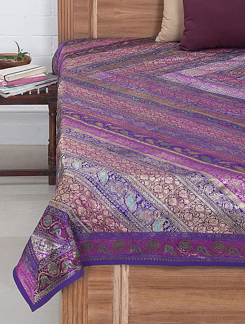 Multi-Color Brocade Bed Cover 105in x 86in