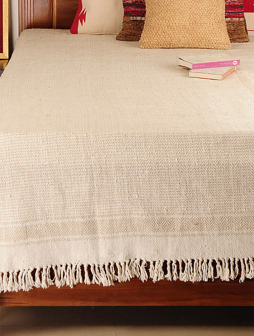 Handspun Ivory-Beige 2 Pick Double Bed Cover 102in X 98in
