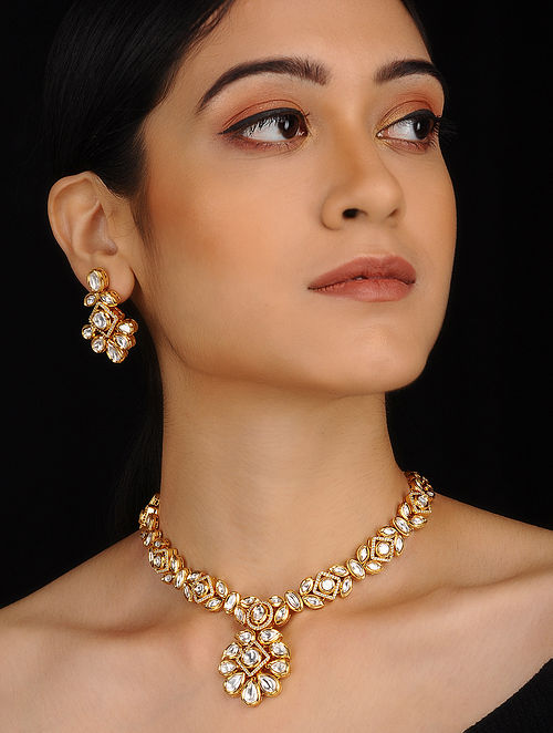 Classic Gold Plated Polki Necklace with Earrings (Set of 2)