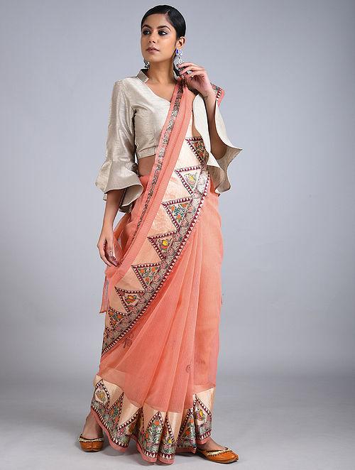 Orange Madhubani Painted Kota Cotton Saree