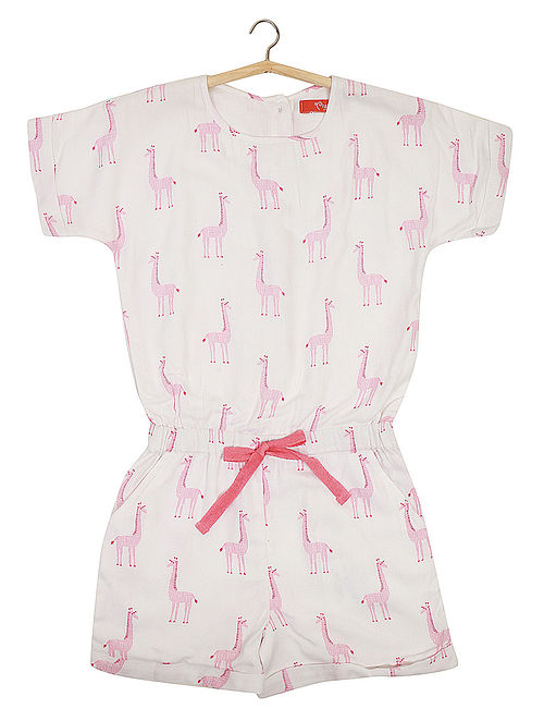 White-Pink Giraffe Printed Rayon Jumpsuit