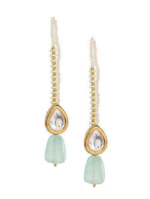 Mint Green Gold Tone Kundan Inspired Stud Earrings