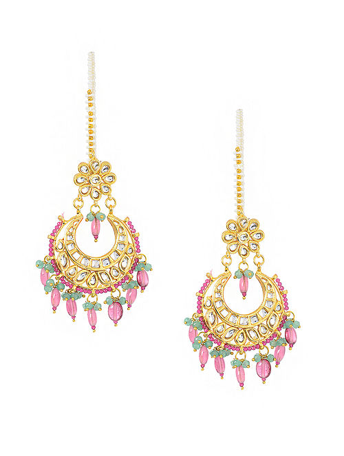 Pink-Green Gold Tone Kundan Inspired Earrings