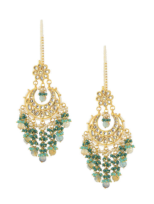 Green Gold Tone Kundan Inspired Chandbali Earrings
