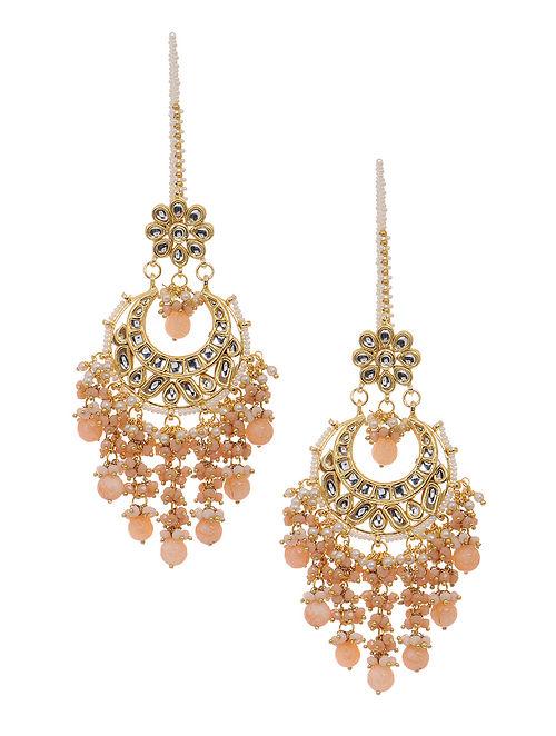 Peach Gold Tone Kundan Inspired Chandbali Earrings