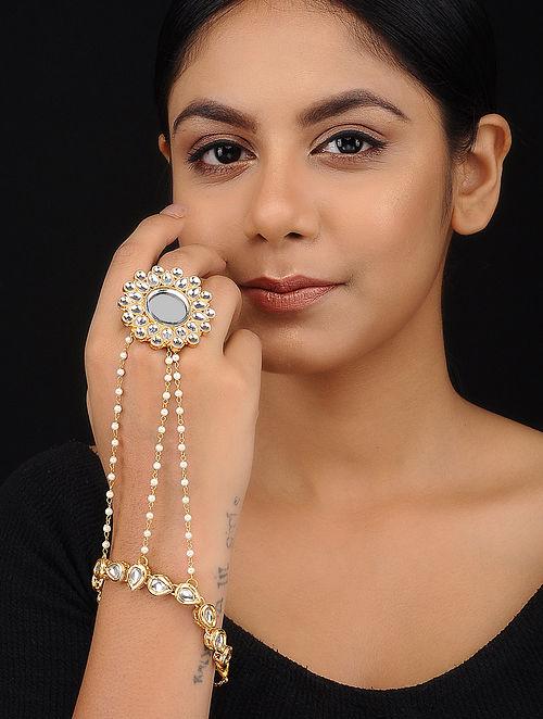 Classic Gold Tone Kundan Inspired Hand Harness