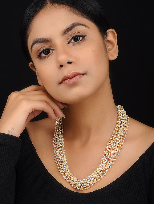 Classic Gold Tone Pearl Necklace