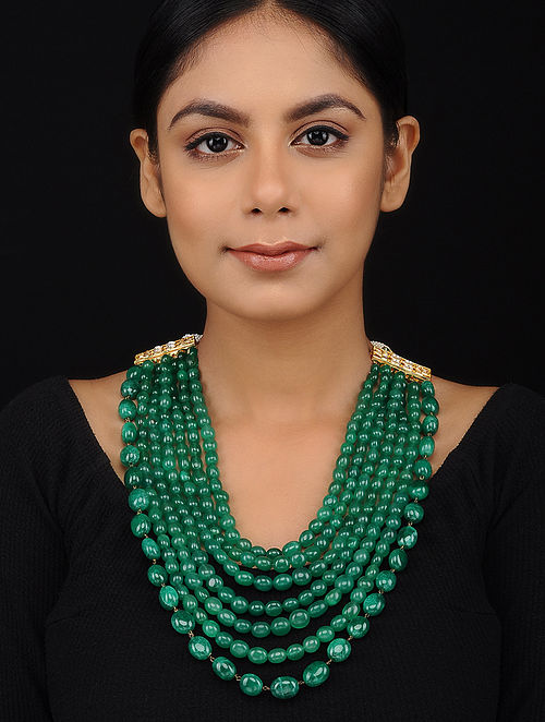 Green Gold Tone Emerald Necklace