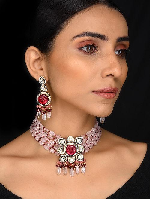 Rose Quartz Gold Tone Kundan Necklace with Earrings (Set of 2)
