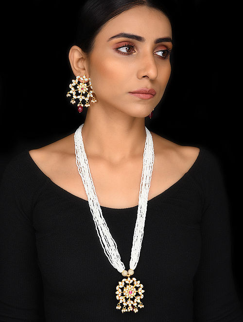 Pearl Gold Tone Kundan Necklace with Earrings (Set of 2)