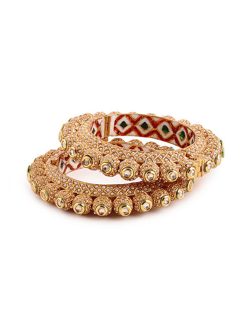 Gold Tone Kundan Bangles with Pearls (Bangle Size: 2/6) (Set of 2)