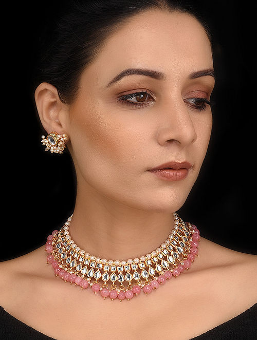 Pink Gold Tone Kundan Necklace with Stud Earrings (Set of 2)
