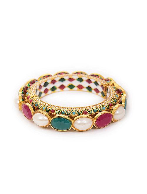 Multicolored Gold Tone Kundan Bangle (Bangle Size-2/4)