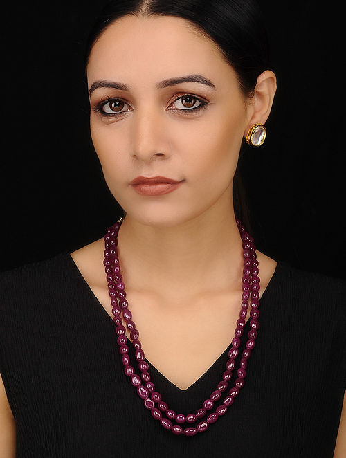 Maroon Beaded Necklace with Kundan Earrings (Set of 2)
