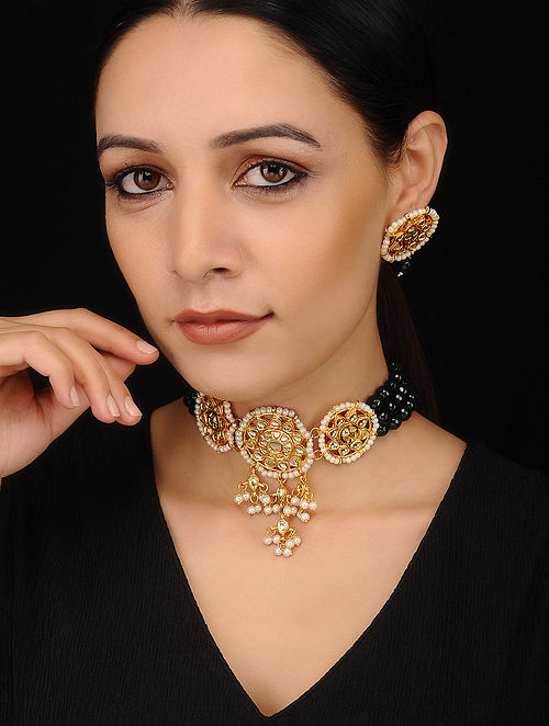 Black Gold Tone Kundan Necklace with Earrings (Set of 2)