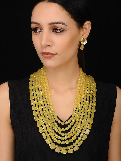 Yellow Gold Tone Beaded Necklace with Kundan Earrings (Set of 2)