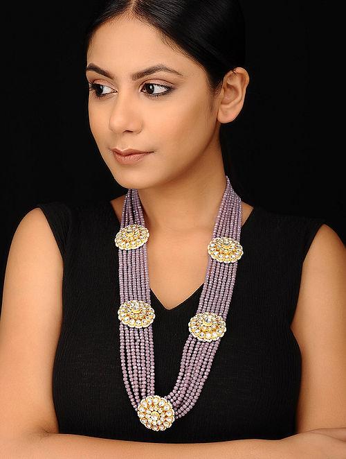 Gold Tone Kundan Necklace with Onyx