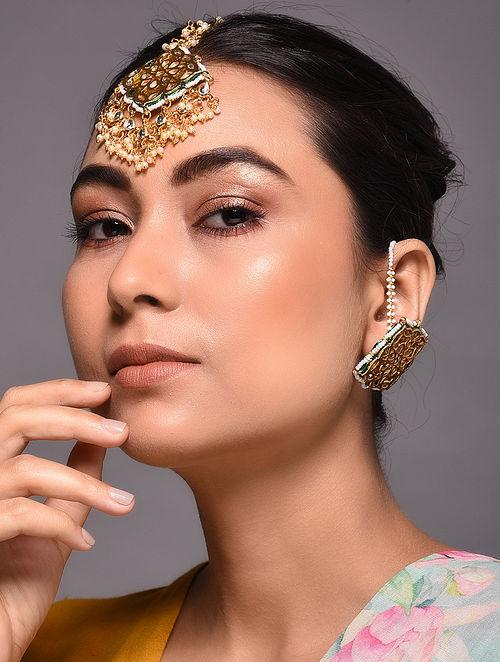 Gold Tone Kundan Inspired Earrings with Maang Tikka