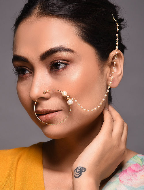 Gold Tone Pearl Beaded Nose Pin