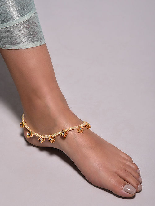 Gold Tone Pearl Beaded Anklet