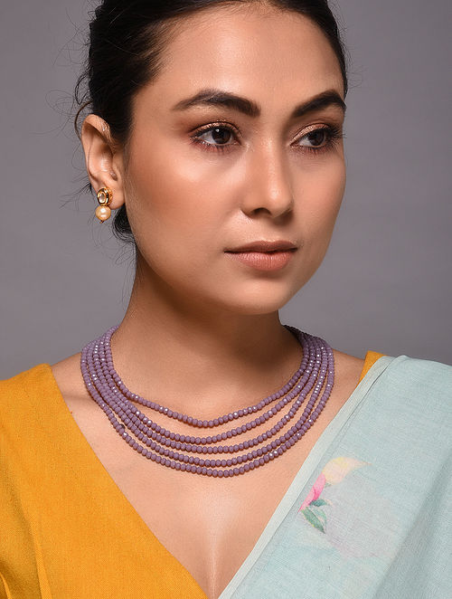 Onyx Gold Tone Kundan Necklace with Earrings
