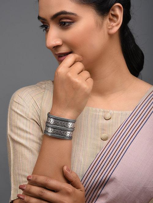 Tribal Silver Cuff (Bangle Size: 2/7)