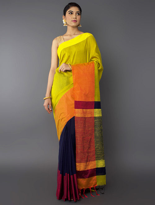 77e41080a Buy Yellow-Blue Cotton Silk Saree with Online at Jaypore.com