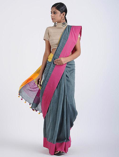 e1ad8b7055 Buy Grey-Pink Cotton Khadi Saree with Tassels Online at Jaypore.com