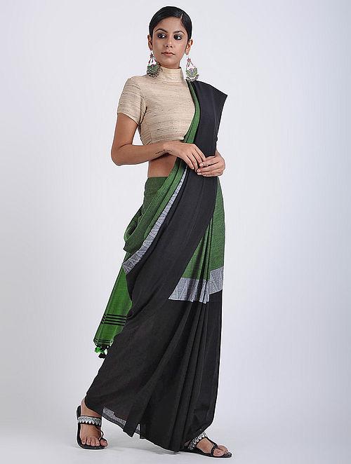 b5d136058b Buy Black-Green Cotton Khadi Saree with Tassels Online at Jaypore ...