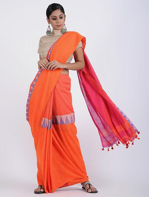 324cd0ca59 Buy Orange-Pink Cotton Khadi Saree with Tassels Online at Jaypore ...
