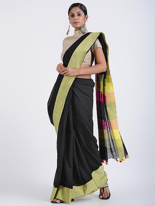 59f86a315a Buy Black-Yellow Cotton Khadi Saree with Tassels Online at Jaypore ...