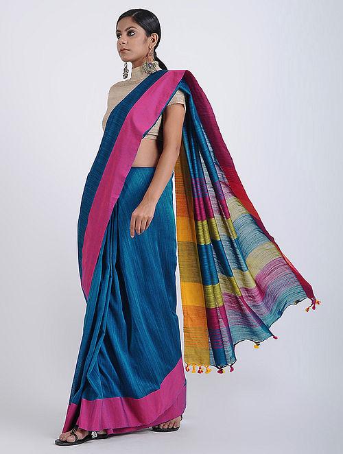 15ee669e98 Buy Blue-Pink Cotton Khadi Saree with Tassels Online at Jaypore.com