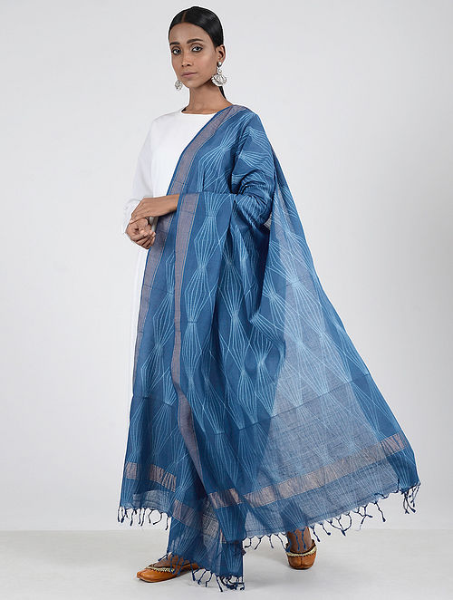 Blue-Ivory Shibori-dyed Cotton Dupatta with Zari Border