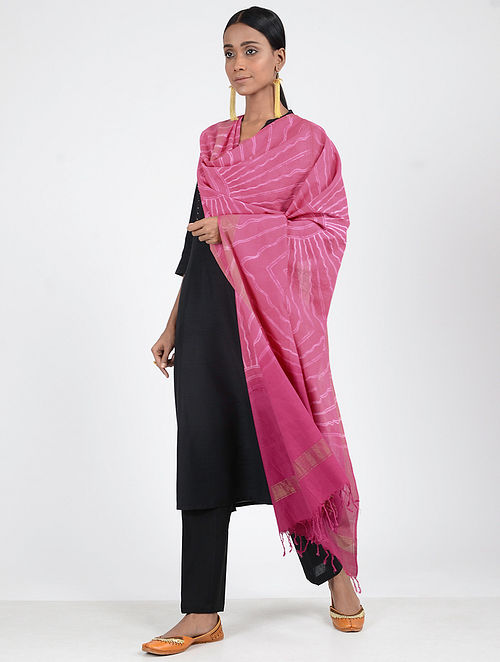 Pink-Ivory Shibori-dyed Cotton Dupatta with Zari Border