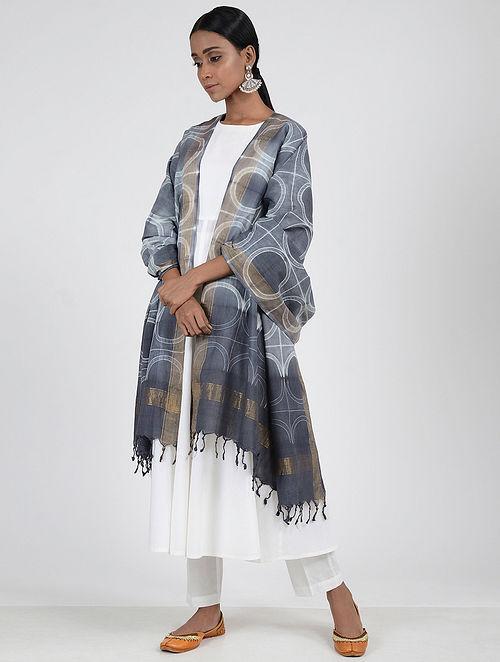 Grey-Ivory Shibori-dyed Cotton Dupatta with Zari Border