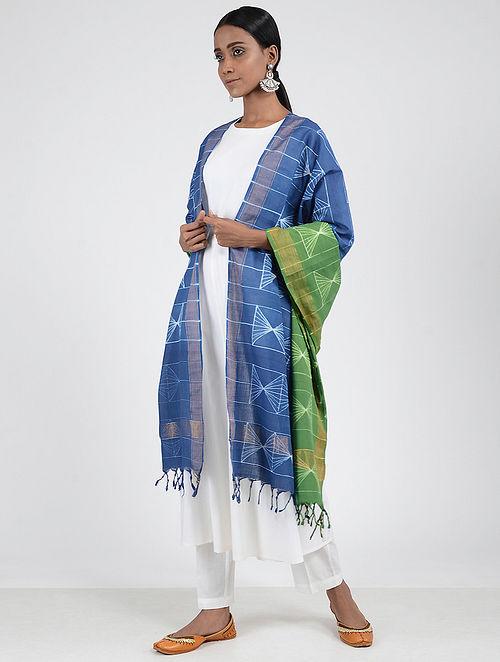 Blue-Green Shibori-dyed Cotton Dupatta with Zari Border