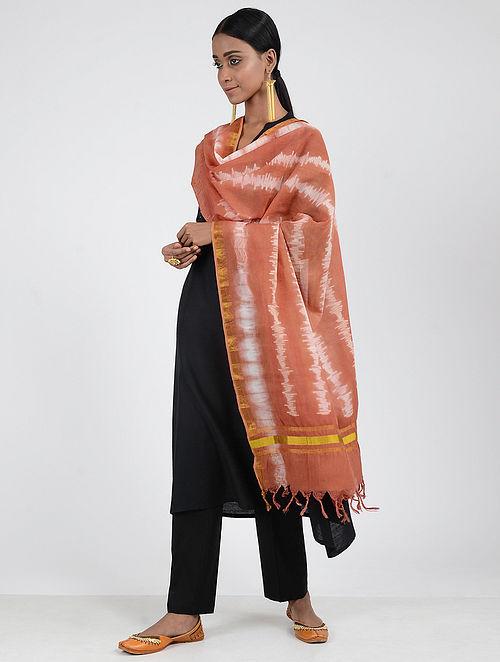Red-Ivory Shibori-dyed Cotton Silk Dupatta with Zari Border