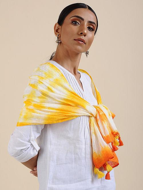 Ivory-Yellow Shibori dyed Cotton Dobby Stole