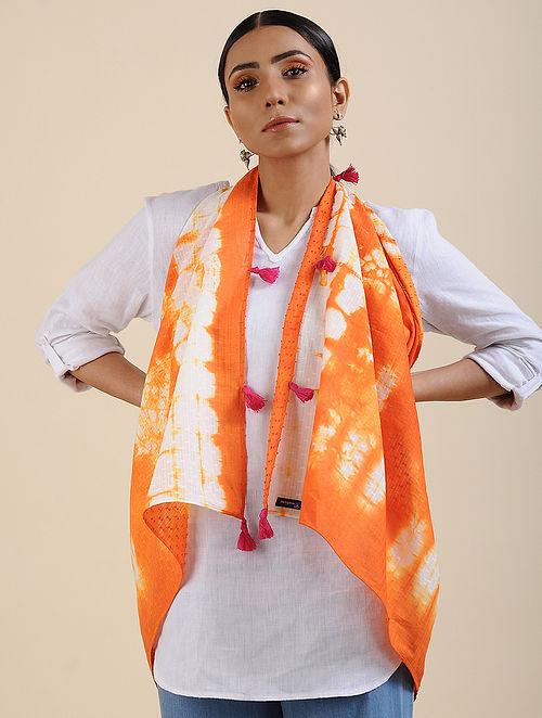 Ivory-Orange Shibori dyed Cotton Dobby Stole