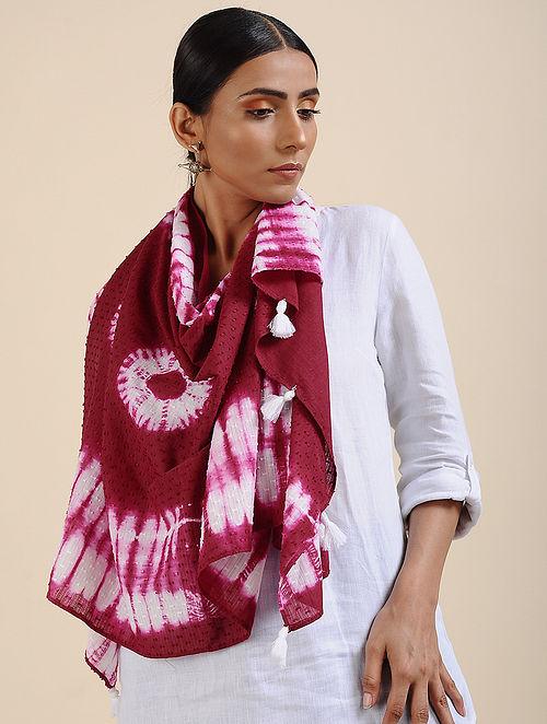 Pink-Ivory Shibori dyed Cotton Dobby Stole