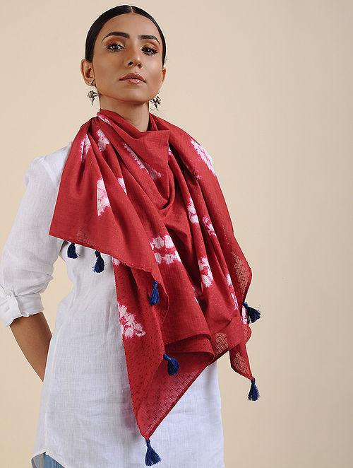 Red-Ivory Shibori dyed Cotton Dobby Stole
