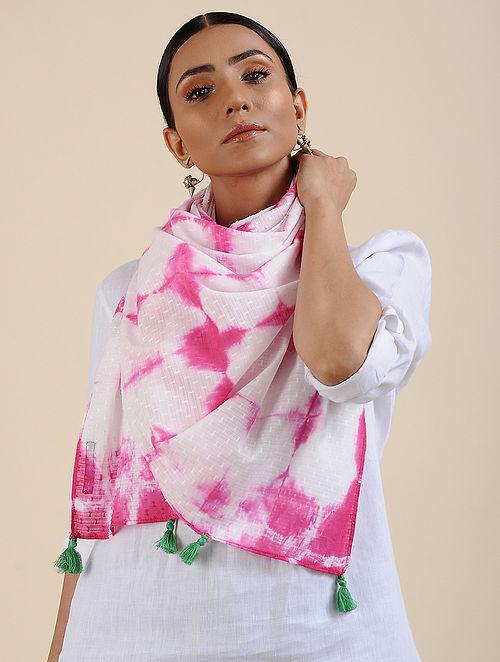 Ivory-Pink Shibori dyed Cotton Dobby Stole