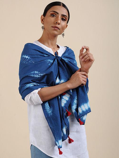 Blue-Ivory Shibori dyed Cotton Dobby Stole