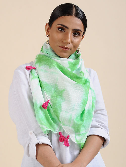 Green-Ivory Shibori dyed Cotton Dobby Stole