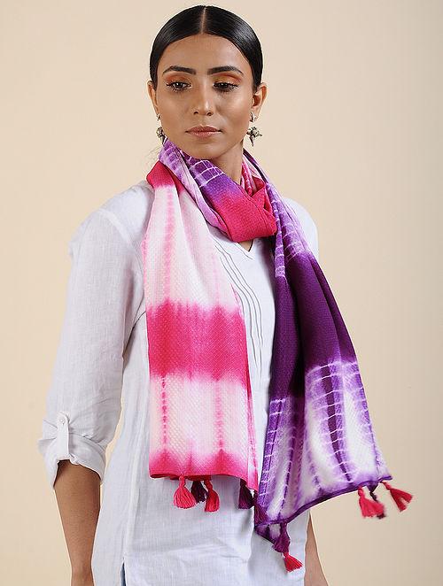 Purple-Pink Shibori dyed Organic Eucalyptus Fiber Stole