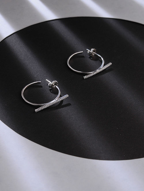 Classic Silver Handcrafted Hoop Earrings
