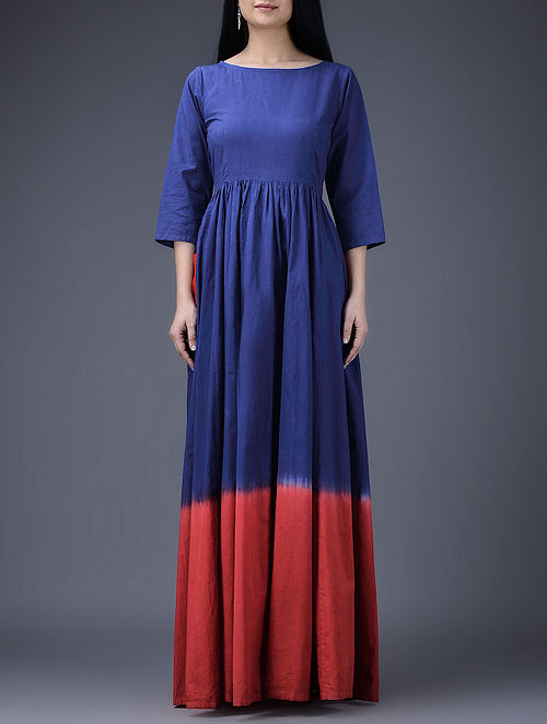Blue-Red Cotton Dress with Gathers-S